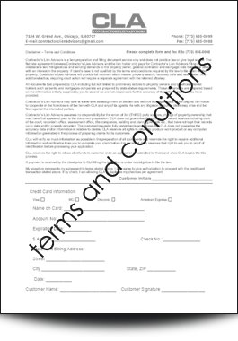 Mechanics Lien form - customer